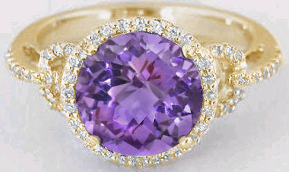 Round Amethyst and Diamond Ring in 14k yellow gold diamond halo