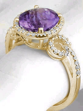 Gemstone: Natural Amethyst, 8mm Round Checkerboard Cut Amethyst Diamond Ring  In 14k