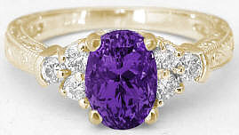 1.50 ctw Amethyst and Diamond Promise Ring in 14k yellow gold