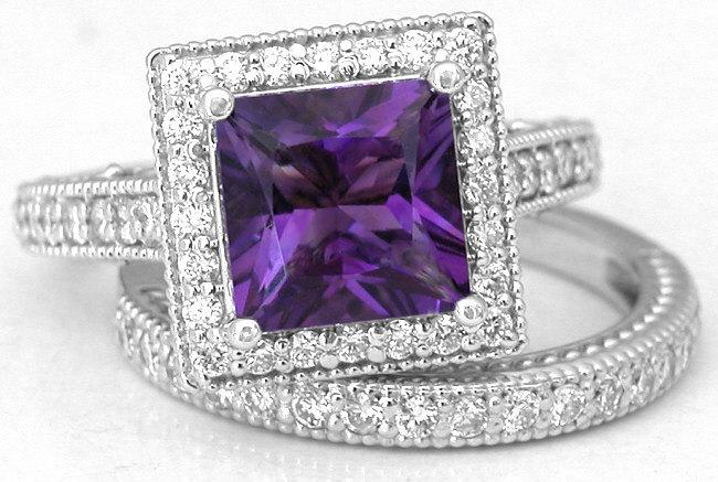 Princess Cut Amethyst Engagement Ring With Diamond Halo