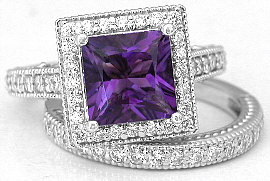 Princess Cut Amethyst Engagement Rings