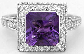Princess Cut Amethyst Diamond Rings in 14k white gold