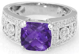 Cushion Cut Amethyst and Diamond Wide Band Engagement Ring