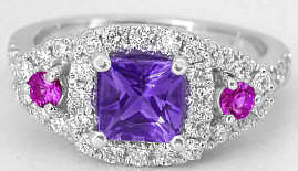 Princess Cut Amethyst, Pink Sapphire and Diamond Ring in 14k white gold