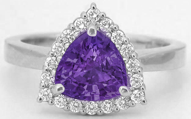 Trillion Cut 7mm Amethyst in a Diamond Halo Ring Mounting with a