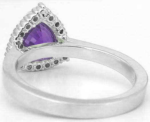 Trillion Cut Amethyst And Diamond Halo Engagement Ring