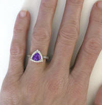 Diamond Halo Rings with Amethyst