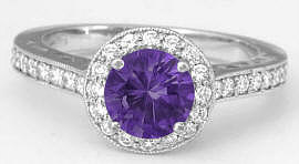 Purple Amethyst and Diamond Engagement Rings