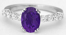 1.64 ctw Oval Amethyst and Diamond Ring in 14k white gold