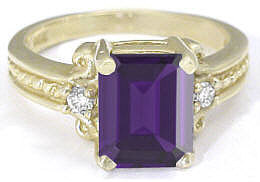 Emerald Cut Amethyst Diamond Engagement Rings