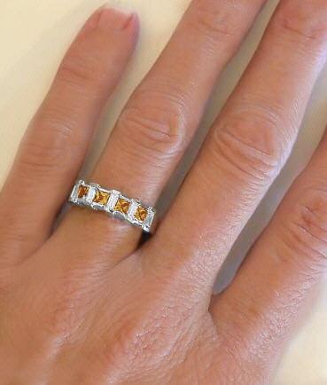 Princess Cut Citrine And Baguette Diamond Ring Gr 2121
