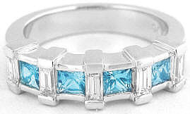 Swiss Blue Topaz Wedding Ring in 14k Gold