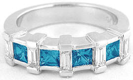Princess Cut London Blue Topaz Band in 14k
