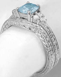 Wedding Rings with Engraving and Aquamarine