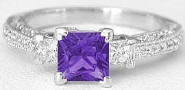 Vintage Style 1.26 ctw Princess Cut Amethyst and Diamond Ring in 14k white gold