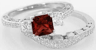 Princess Cut Red Garnet and Diamond Engagement Rings