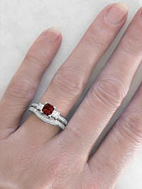 White Gold Garnet Engagement Rings with Princess Cut Gemstones