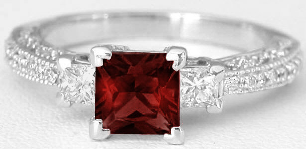 Antique Princess Cut Garnet And Princess Cut Diamond Ring