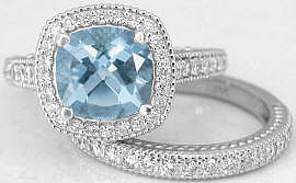 Antique Aquamarine Diamond Rings