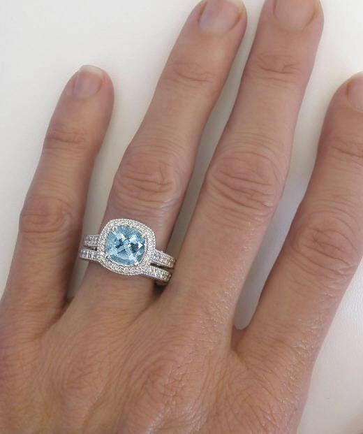 Diamond Halo Aquamarine Engagement Rings With Filigree