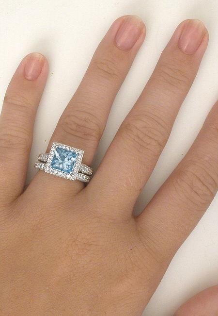 Diamond Halo Engagement Ring With Princess Cut Aquamarine