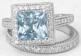 Princess Aquamarine and Diamond Engagement Ring and Wedding Band