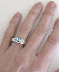 Engraved Aquamarine Engagement Ring and Wedding Band
