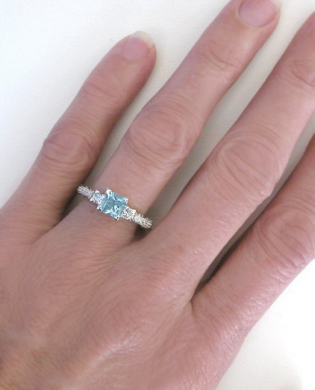 Vintage Princess Cut Aquamarine And Princess Cut Diamond