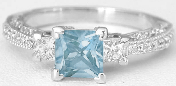 Princess Cut Aquamarine Engagement Ring And Matching