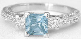 Princess Cut Aquamarine and Diamond Ring in 14k white gold