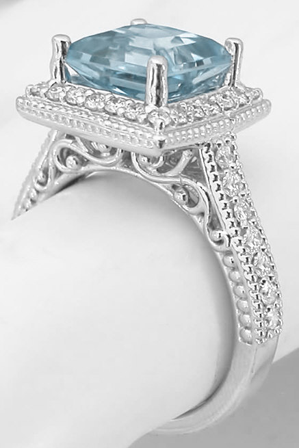 Princess Aquamarine And Diamond Ring In 14k White Gold