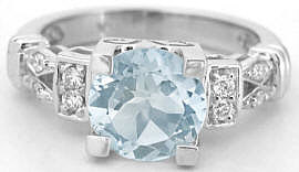 Round Aquamarine Diamond Engagement Ring