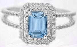 Aquamarine Engagement Rings in 14k