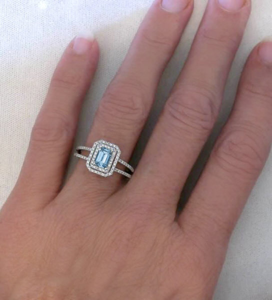 Emerald Cut Aquamarine Diamond Ring With Diamond Halo