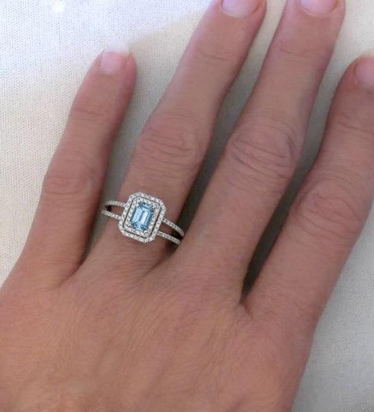 Emerald Cut Aquamarine Diamond Ring with Diamond Halo ...