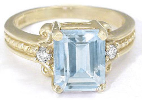 fb60c018f88ee Elegant 2.50 ctw Emerald Cut Aquamarine and Diamond Ring in 14k yellow gold