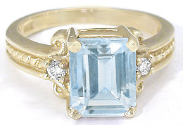 March birthstone promise rings in 14k gold