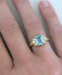 Emerald Cut Aquamarine and Diamond Engagement Ring in 14k Yellow Gold