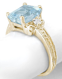 Aquamarine Engagement Ring with Rope Detail