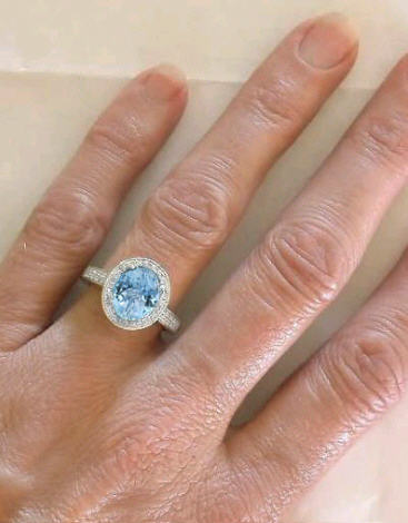 Diamond Halo And Oval Aquamarine Engagement Ring In 14k