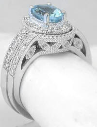 Aquamarine Engagement Ring and Matching Band