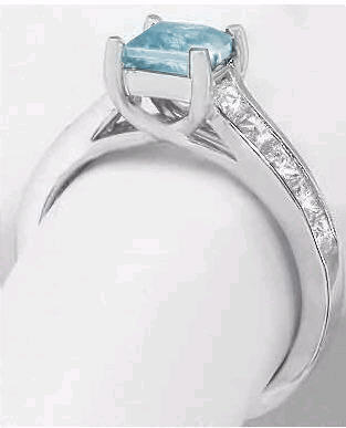 56 ctw Princess Cut Aquamarine and White Sapphire Ring in 14k white ...
