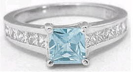 Princess Cut Aquamarine Engagement Rings in 14k