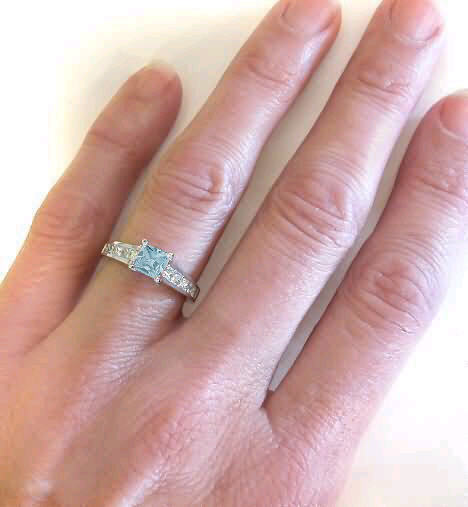 princess cut aquamarine and princess cut white sapphire rings - Aquamarine Wedding Rings