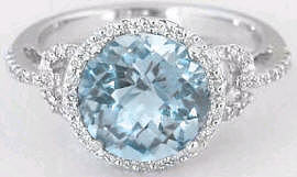 Aquamarine Diamond Halo Engagement Ring in 14k White Gold
