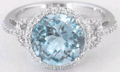 8mm Round Aquamarine Diamond Halo Engagement Ring In 14k