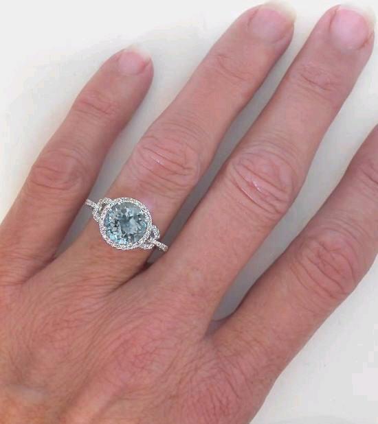 Diamond Halo Ring Setting With 8mm Round Aquamarine In 14k