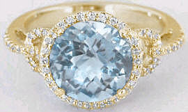 Yellow Gold Aquamarine Engagement Rings