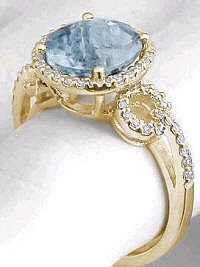 Fine Aquamarine and Diamond Ring with Halo Design in 14k