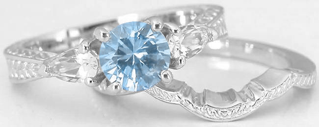 Three Stone Aquamarine Engagement Ring and Engraved Wedding Band